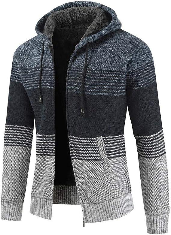 KPILP Strickjacke Herren Pullover Bluse gestreiften Windbreaker dicken Reißverschluss warmen Hoodie Outwear Oberteile Mäntel Winter Herbst