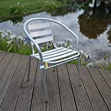 Aluminium Lightweight Chrome Bistro Chair Patio Garden Outdoor Silver