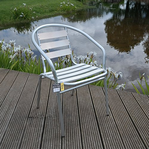 2x Aluminium Lightweight Chrome Bistro Chair Patio Garden Outdoor Silver
