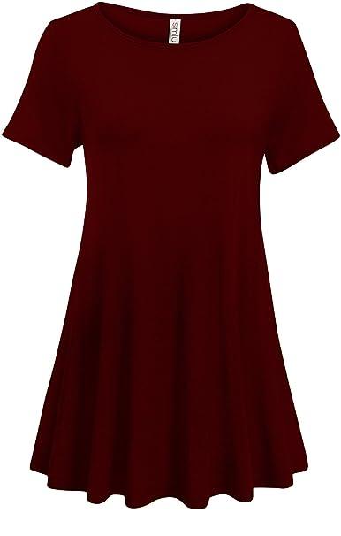 40d46f4246b12 Burgundy Tunic Tops for Women Loose Flowy Top Burgundy Short Sleeve Tops  for Women (Size
