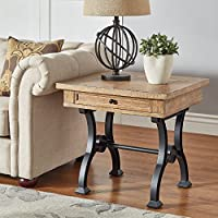 iNSPIRE Q Lloyd Wood and Metal Trestle Base End Table by Artisan