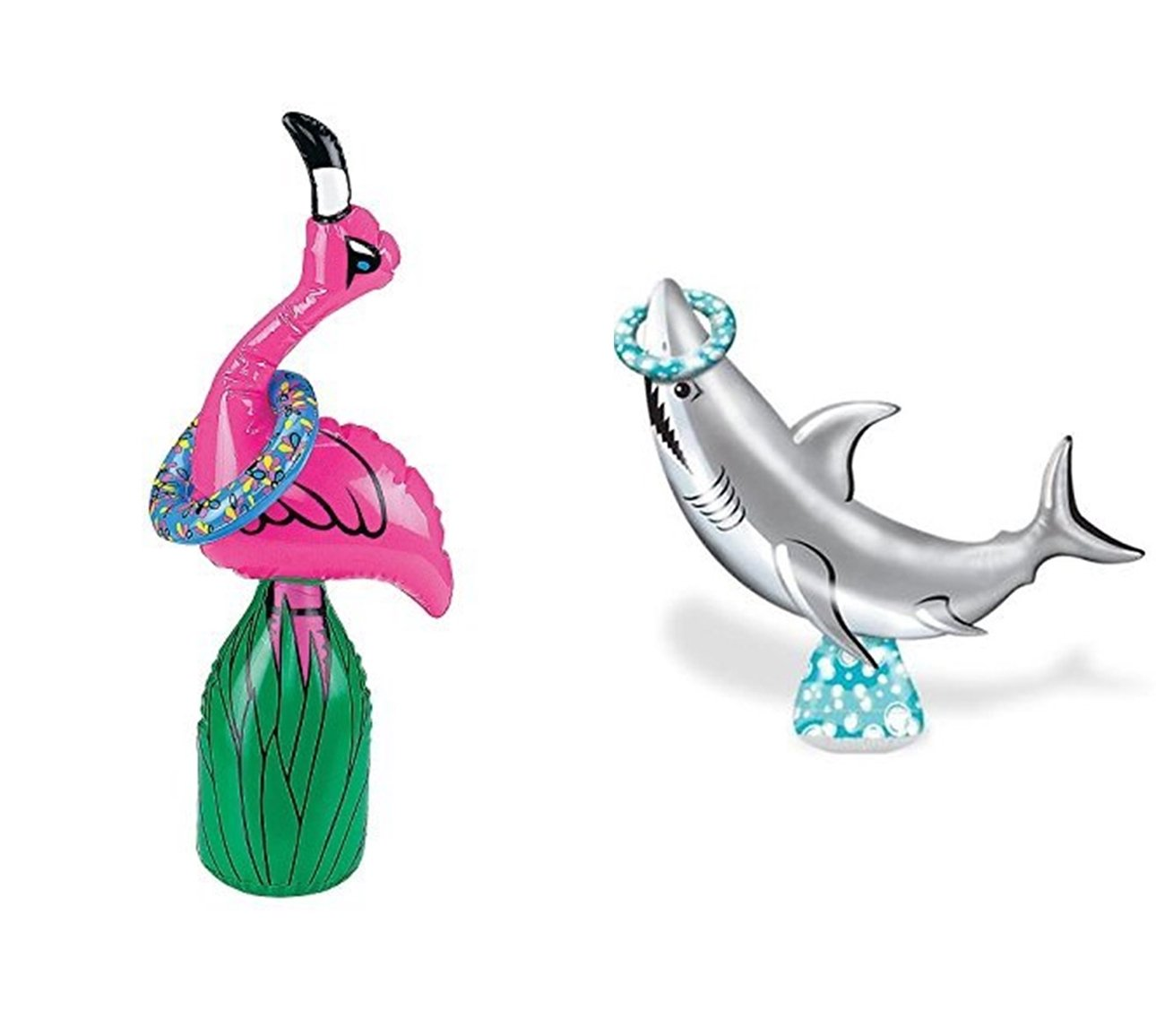 happy deals Inflatable SHARK + Inflatable Flamingo toss games - set of 2 inflatable Luau Pool party games