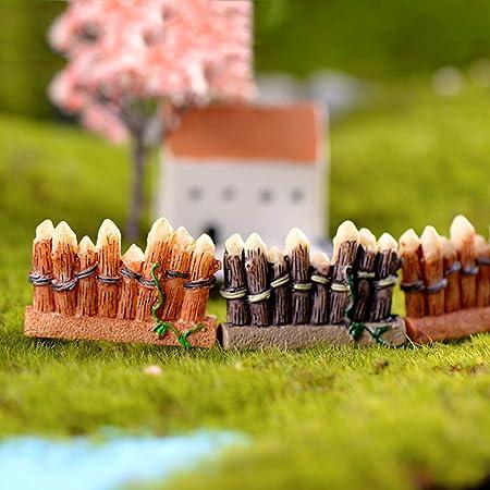 Steellwingsf Decoración De Plantas Hortícolas De Micropaisajes, Rejas De Vallas Miniaturas Decoración De Cabañas De Jardín De Resina DIY De Bricolaje Verde: Amazon.es: Hogar
