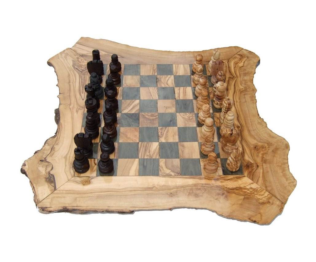 Schach Schachbrett Schachspiel Schachtisch aus Olivenholz Neu mit Figuren !!!!!