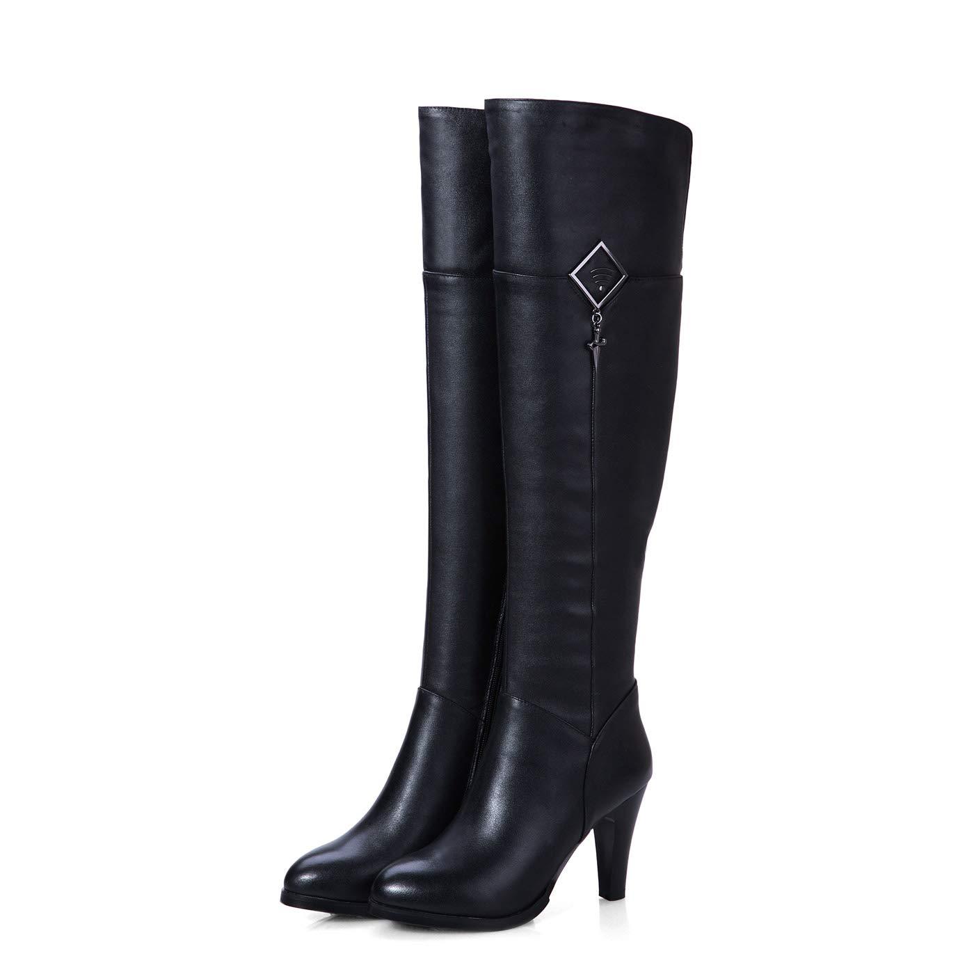 DANDANJIE Damen Overknee Stiefel Stiefel Stiefel mit Reißverschluss High Heel High Stiefel für Outdoor Herbst & Winter 30f6ee