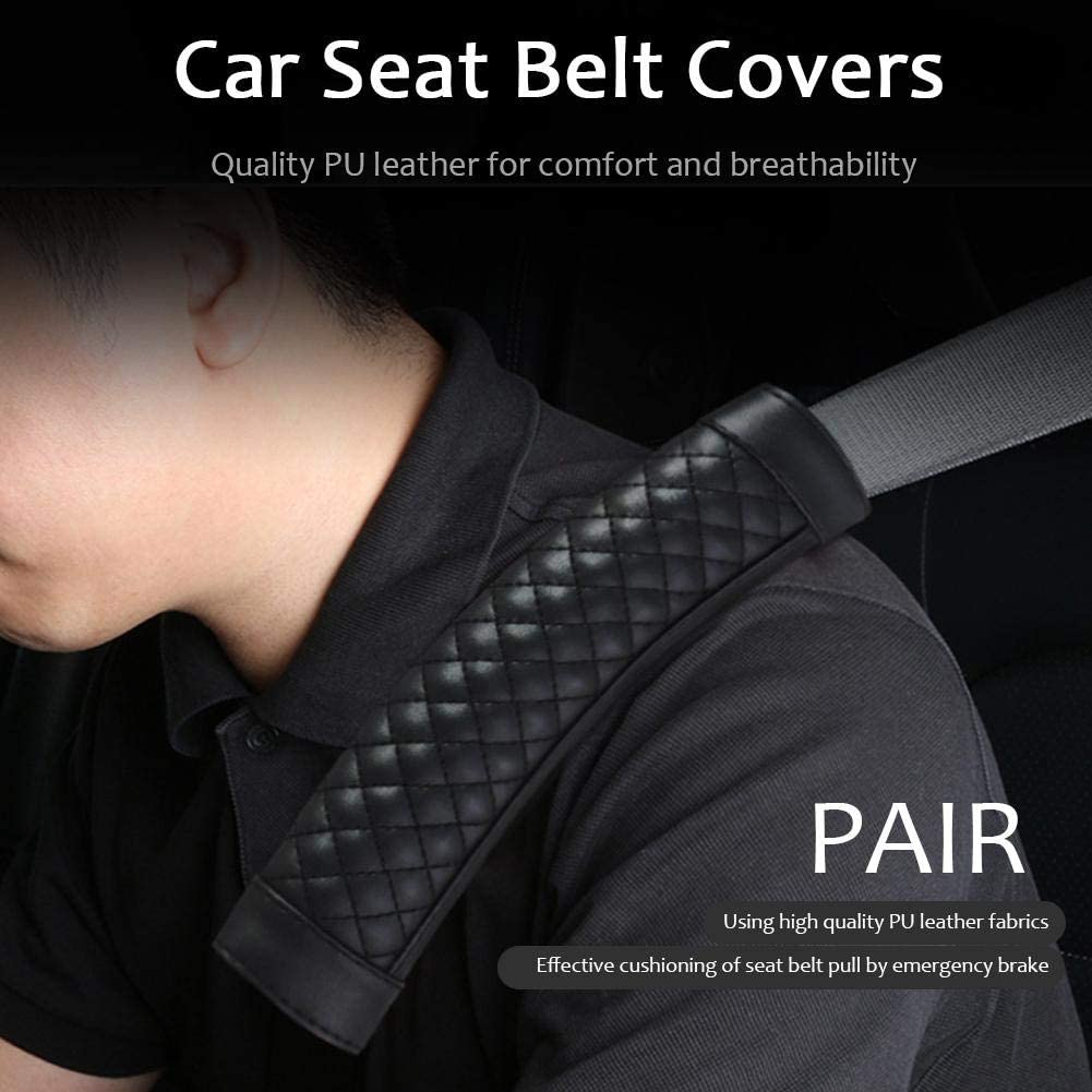 Ahomi 2pcs Car Safety Seat Belt Covers PU Leather Shoulder Protection Pad Black