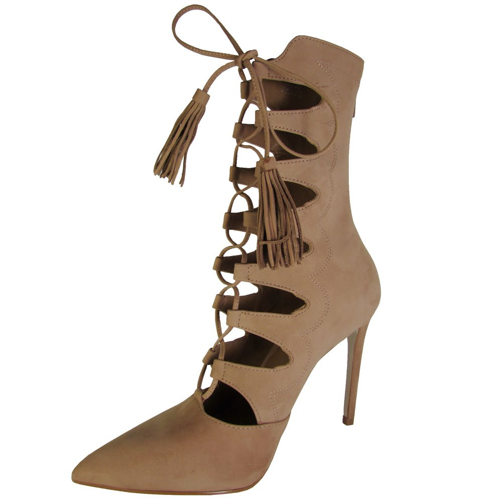 Steve Madden Womens Piper High Heel Lace Up Bootie Shoes, Tan Nubuck, US 5.5