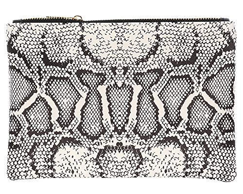 Clutch Lined Snakeskin (Faux Snake Skin Animal Print Vinyl Clutch Cosmetic Makeup Pouch Bag Beige)