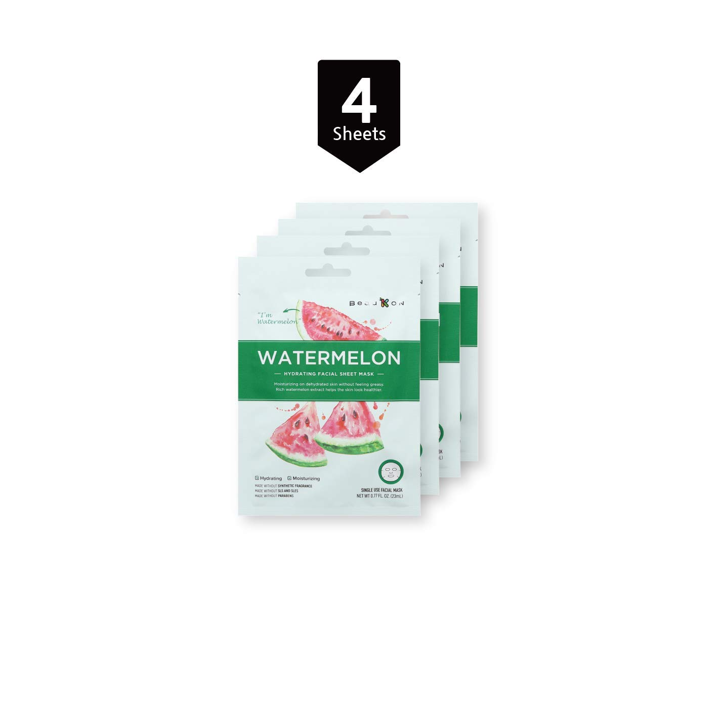 BeauKON Watermelon Hydrating Facial Sheet Mask with Cranberry Extract, Korean Daily Face Mask, Hydrating and Moisturizing (4 Pack)