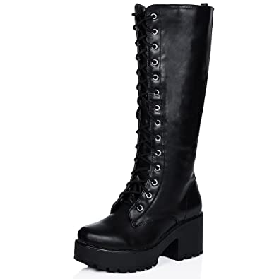 Block Heel Cleated Sole Lace Up Platform Knee High Boots Black Synthetic  Leather US 5 32cea587e260