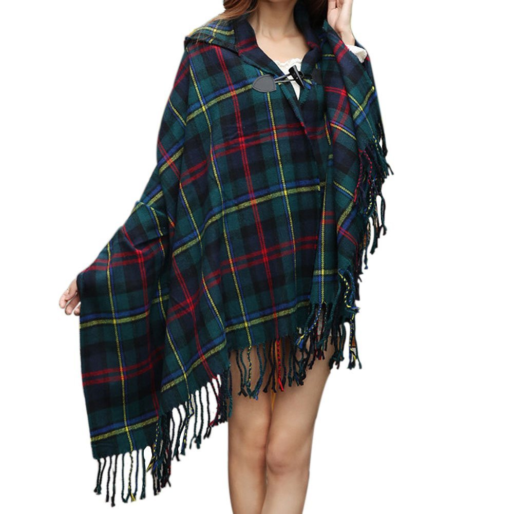 Women Plaid Hooded Poncho Bobo Shawl Fringe Tartan Wrap Tasseled Batwing Cape