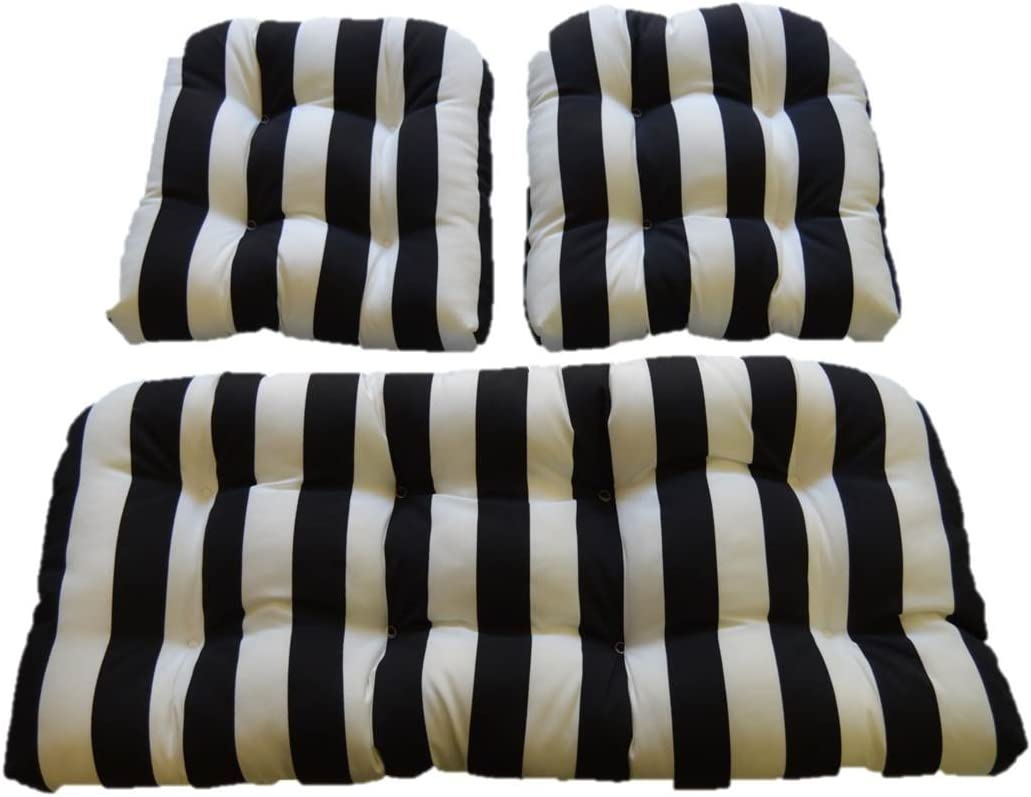 Resort Spa Home Decor Black White Stripe Fabric Cushions for Wicker Loveseat Settee 2 Matching Chair Cushions