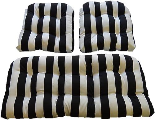 Resort Spa Home Decor Black White Stripe Fabric Cushion