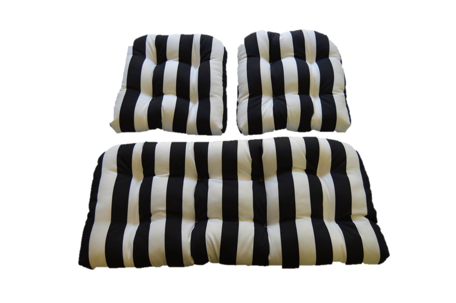 Black & White Stripe Fabric Cushions for Wicker Loveseat Settee & 2 Matching Chair Cushions
