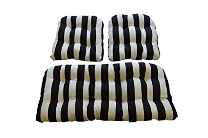 Black U0026 White Stripe Fabric Cushions For Wicker Loveseat Settee U0026 2  Matching Chair Cushions