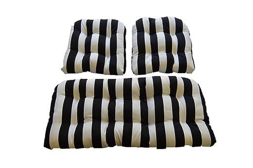Amazon.com: Blanco y Negro Diseño de rayas. Cojines para ...