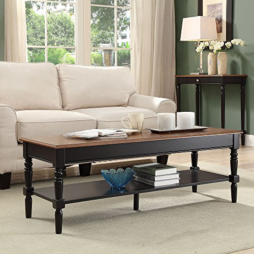 Convenience Concepts French Country Coffee Table, Dark Walnut / (Black Carved Coffee Table)