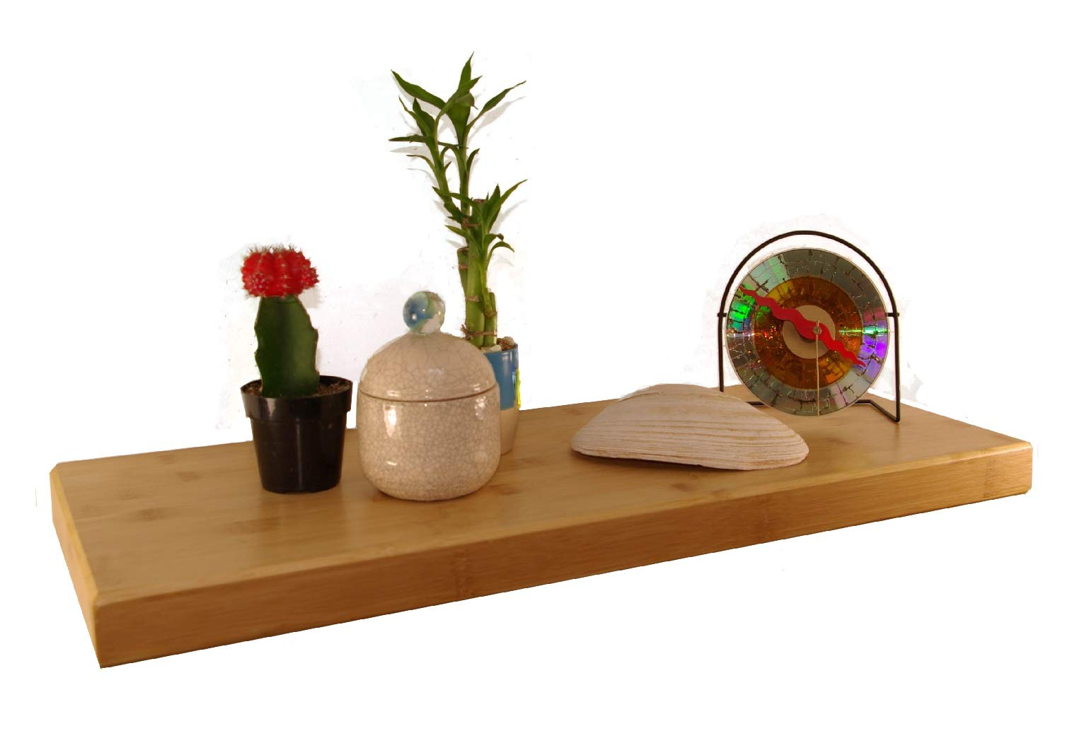 """Pyllo Bamboo Floating Shelf - Floating Wall Shelves with Hidden Bracket - Made from 100% Bamboo - 23 5/8"""" X 9 1/4"""" X 1 1/2"""" - Easy Installation - PREMIUM QUALITY ECO-FRIENDLY BAMBOO SHELF - NO MDF (Particle Board) : Perfect For Office, Kitchen, Bedroom, Bathroom, Nursery, or Anywhere Around Your Home. EXTRA WIDE 9 1/2 Inches , Makes A Great Display Shelf For Books, Pictures, or Collectibles. The Durable Natural Carbonized Finish is Easy to Clean and Will Last For Years. EASILY HOLDS UP TO 25 POUNDS - With Our Wall Mounted Shelves, Only One Single Hidden Bracket Is Needed, Which Makes For EASY INSTALLATION! No Exposed Shelf Brackets To Get In Your Way. Hidden Mounting Bracket Gives a Floating Shelf Appearance... EASY TO FOLLOW INSTRUCTIONS, with Drywall Anchors, That Require NO DRILLING and Screws Included. BAMBOO IS NATURALLY ANTIBACTERIAL, ANTIMICROBIAL and WATER RESISTANT, which makes them Perfect for Bathrooms and Nurseries. These Floating Wall Shelves are not only Beautiful, but Durable as well. Bamboo will hold up to dings and spills. Our Bamboo comes from sustainable forests. - wall-shelves, living-room-furniture, living-room - 61S86O11GAL -"""