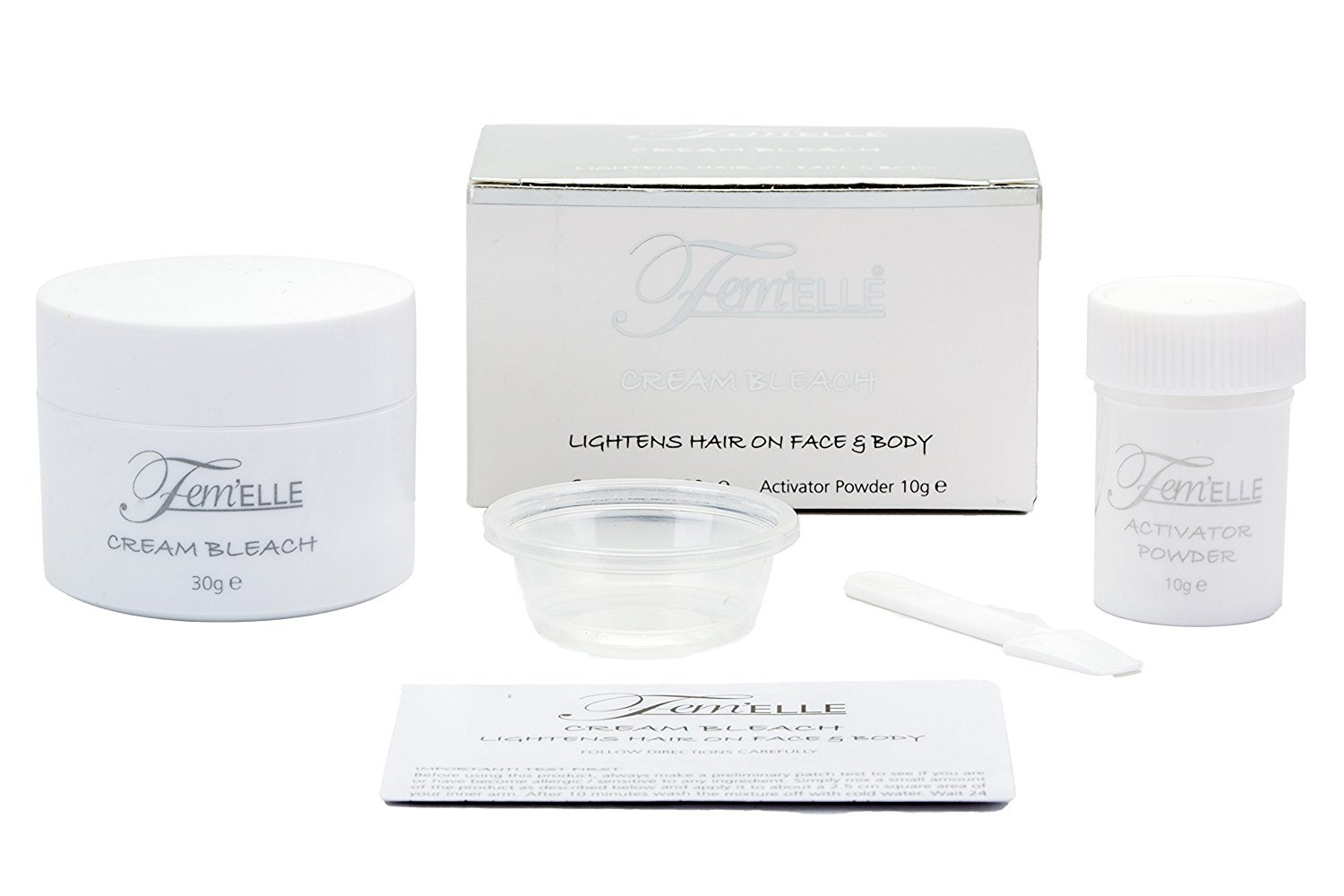 Femelle Cream bleach lightens hair on face and body Cream bleach 30g Activator powder 10g Fem' ELLE