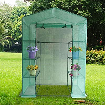 """Quictent Mini Walk-in Greenhouse 4 tiers 6 Shelves Portable Small Green Grow Garden plant Plastic House 78""""x56""""x30"""""""