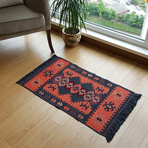 61S86feBUoL - Modern Bohemian Style Small Area Rug, 2 X 3 feet, Washable, Natural Dye Colors, Two-sided (reversable), Perfect for Kitchen, Hallway, Bathroom, Bedroom, Corridor, Living Room (Charcoal Grey-Orange)