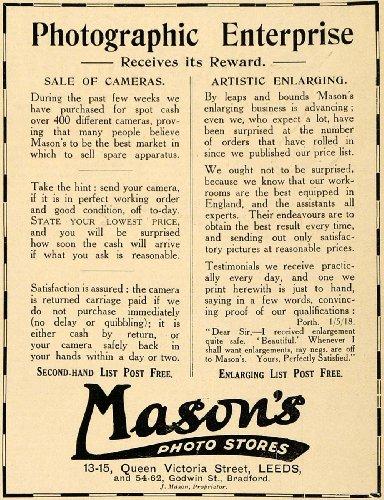 1918 Ad J. Mason's Photography Used Secondhand Film Cameras Artistic Enlarging - Original Print - Queen 62 Street