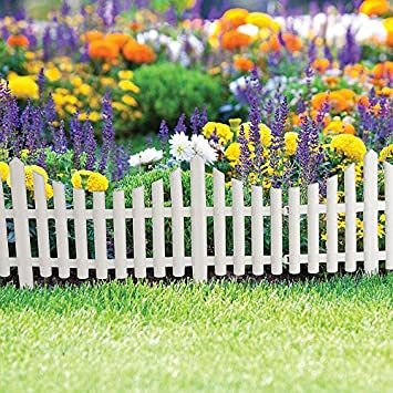 8x wood effect white garden picket fence flowerbed edging panels 8x wood effect white garden picket fence flowerbed edging panels mightylinksfo