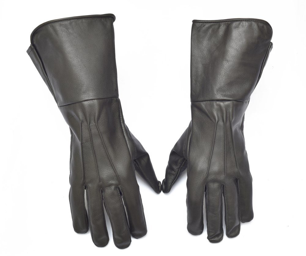 Medieval Gauntlet leather cosplay gloves long arm cuff (Black, Large)