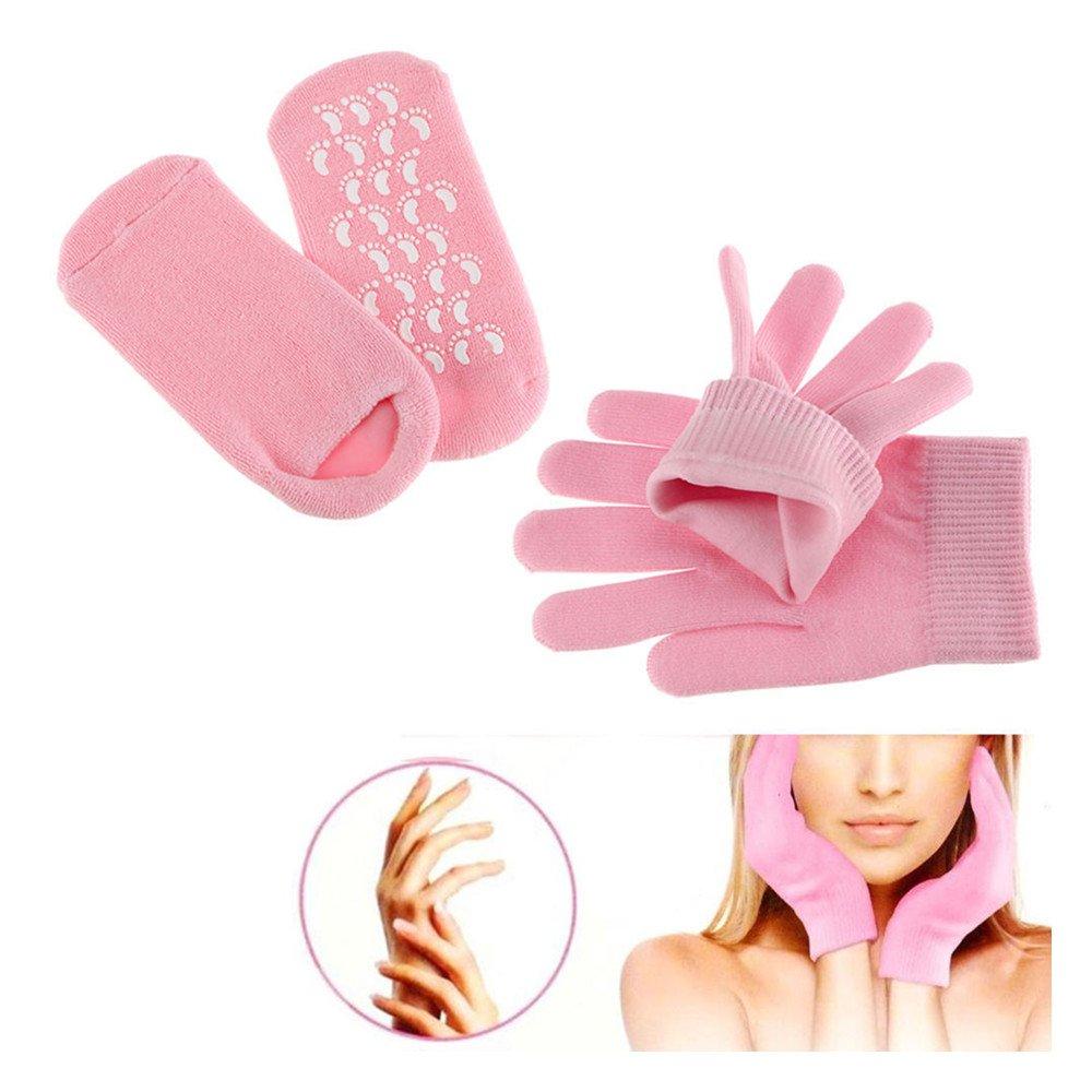 Pinkiou Soften SPA Gel Feuchtigkeitsspendende Handschuhe und Socken für Moisturize Cracked Skin Care (Pink) Gel Socken und Handschuhe