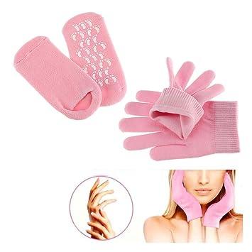 Pinkiou Soften SPA Gel Hidratante guantes y calcetines para hidratar el cuidado de la piel agrietada (Rosa): Amazon.es: Belleza