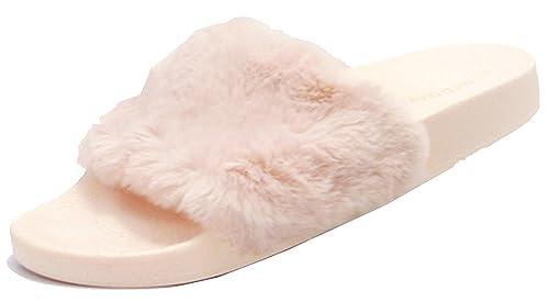 c8177117ed2a98 Wild Diva Women s Faux Fur Flip Flop Slide Flat Sandal (7 B(M)