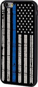 "iPhone 6/6s Plus Case,BOSLIVE Retro Thin Blue Line American Flag Design TPU Slim Anti-Scratch Protective Cover Case for iPhone 6/6s Plus 5.5"""