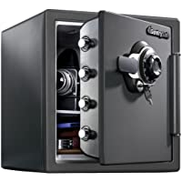 SentrySafe Fireproof Safe and Waterproof Safe with Dial Combination, SFW123DSB