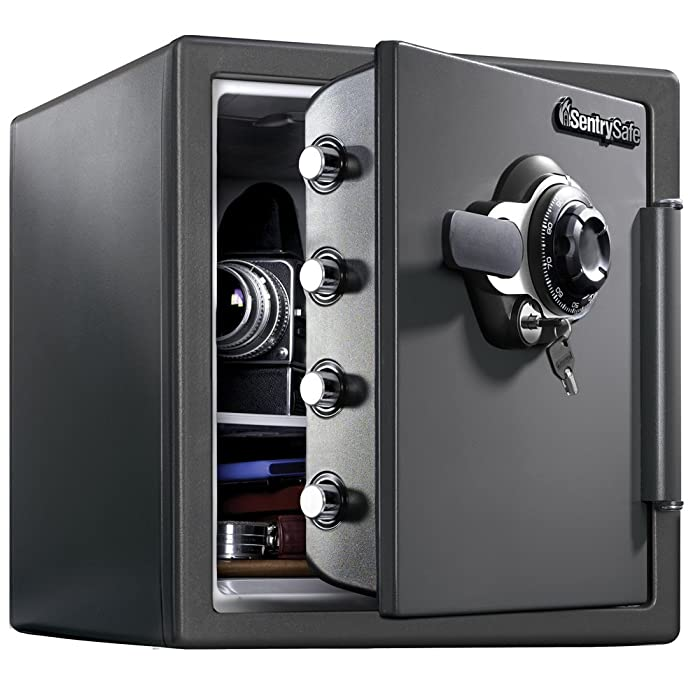 SentrySafe SFW123DSB Fireproof Safe and Waterproof Safe with Dial Combination 1.23 Cubic Feet