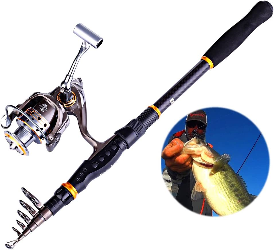 Collapsible Telescopic Fishing Pole with Spinning Reel Kit for Adults Kids Outdoor Sport Travel Freshwater Saltwater Fishing Sougayilang Fishing Rod Reel Combos