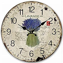 Antique Kitchen Wall Clock, Eruner Lovely 14-inch Silent Quiet Clock for Lounge Bedroom Living Room Dining Room Hallway Clock With Retro Feel Birthday Gift