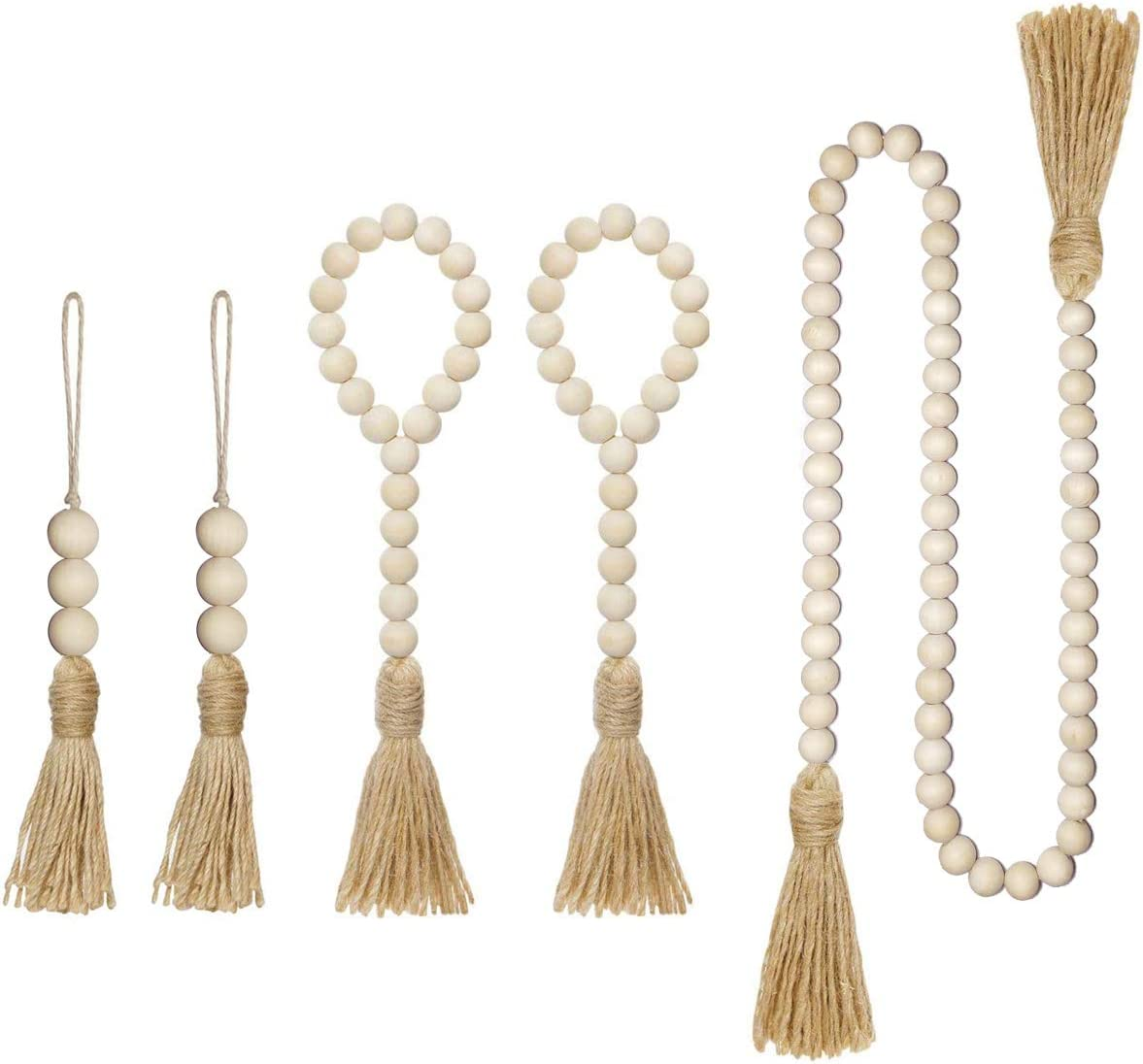 5 Packs Wood Bead Garland with Tassels Farmhouse Beads Rustic Country Decor Prayer Beads Wall Hanging Decor 3 Size Suit