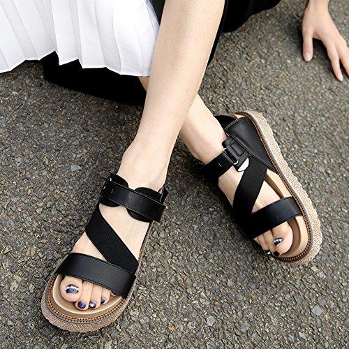 Noir Taille 43 Scratch 41 Grande Elastique Bout PU Femmes Epaisse wealsex Semelle Ouvert 42 Plates Sandales Cuir 40 Bride OxnRU