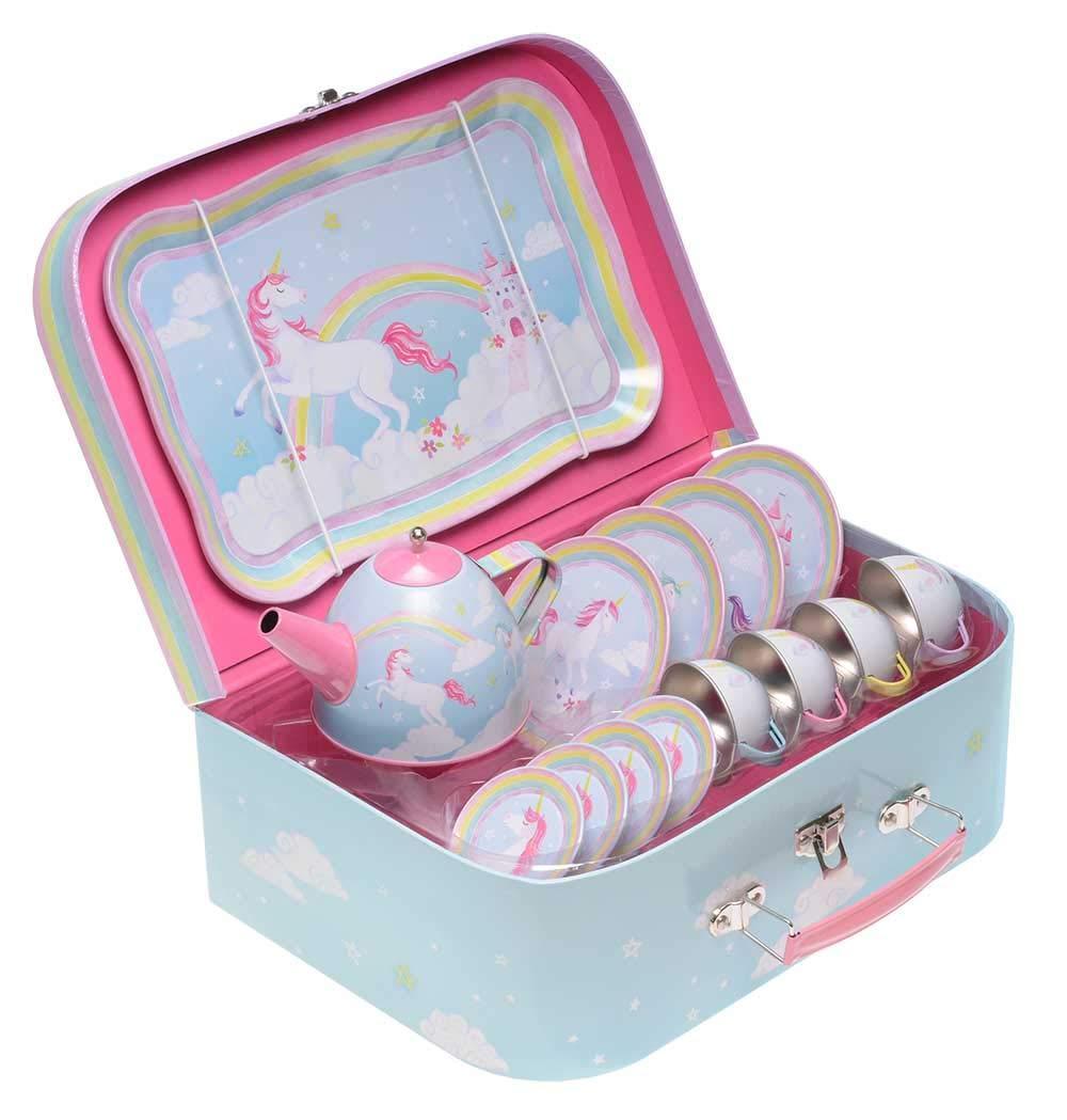 Jewelkeeper 15 Piece Kids Pretend Toy Tin Tea Set & Carrying Case - Rainbow Unicorn Design by Jewelkeeper