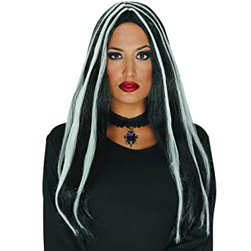 Amakando Cabello Falso de Bruja Peluca Larga Mujer Negro con mechones Blancos Cabellera postizo gótica Complemento
