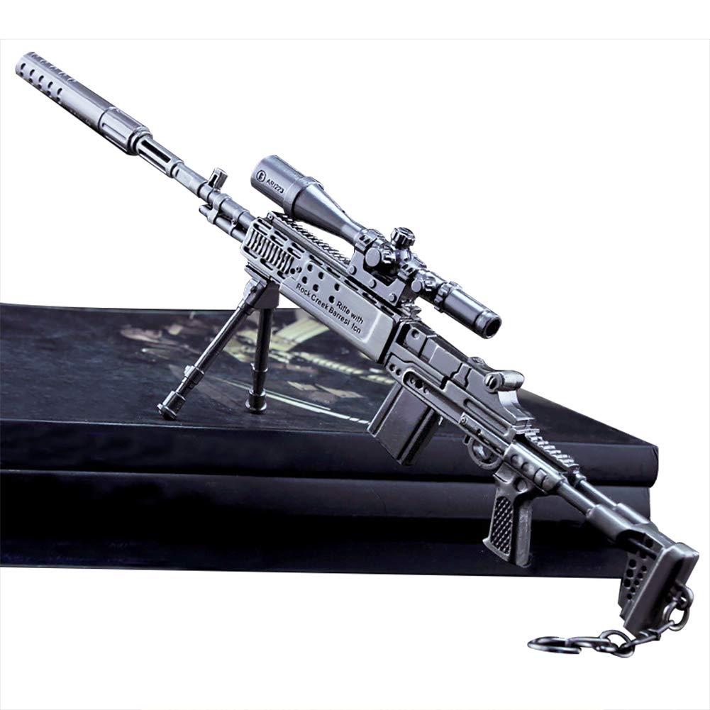 Alicedreamland Porte-clé s –  27 cm mk14 Sniper Rifle modè le de Jouet en Alliage –  Jouets de ré plique d'armes pour Enfants Adultes, dé corations, manualidades- Vista + Silencieu