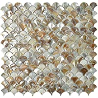 Mother of Pearl Colorful Bathroom Wall Panels Fan Shaped Fish Scale Mosaic Tile Honed 5 Sq Ft Pack of 5