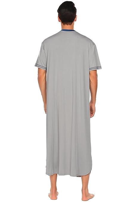 af4ad71699 Adidome Men s Cotton Nightshirt Short Sleeve Sleep Shirt Loose Nightgown  Sleepwear Dress at Amazon Men s Clothing store