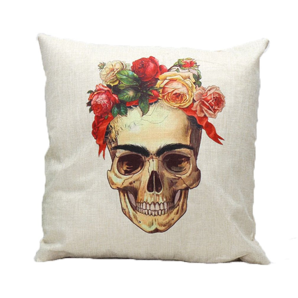 CoKate Halloween Skulls Personality Pillowcase Sofa Home Decorative Skeletons Cushion Cover Cotton Linen Square 18 X 18 Inch (A)