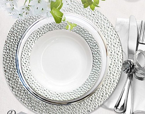 Royalty Settings Hammered Plastic Cutlery and Plastic Plates Set Party Package for 120 Persons, Includes 120 Dinner Plates,120 Salad Plates, 240 Forks, 120 Knives, 120 Spoons and 60 Teaspoons