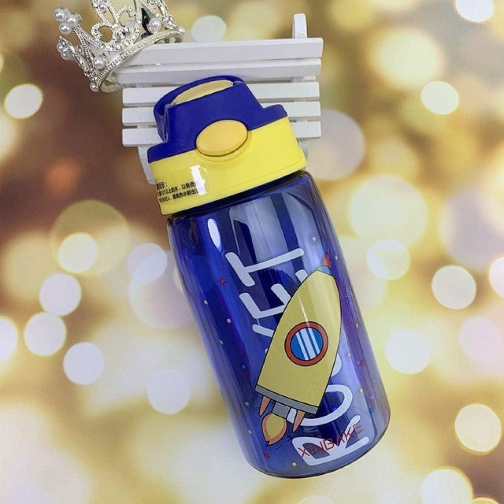 yylikehome BPA Free Kids Cute Water Bottle Niños Hervidor de Agua Bebida de Dibujos Animados Plástico Deporte con Paja Portátil Ecológico Baby Milk Cup 480ml