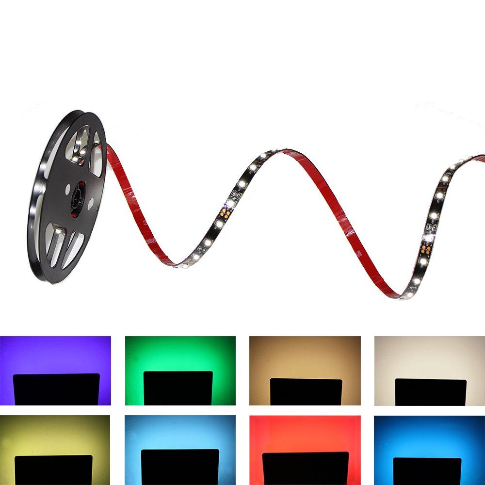 RGB LED TV Back Light, LightingWill 6.6ft/2M HDTV Bias Lighting 12V Powered SMD5050 RGB LED Strip Multi-Color Changing Backlight Kit for Flat Screen HDTV LCD Desktop PC Monitor TV2M12RGB