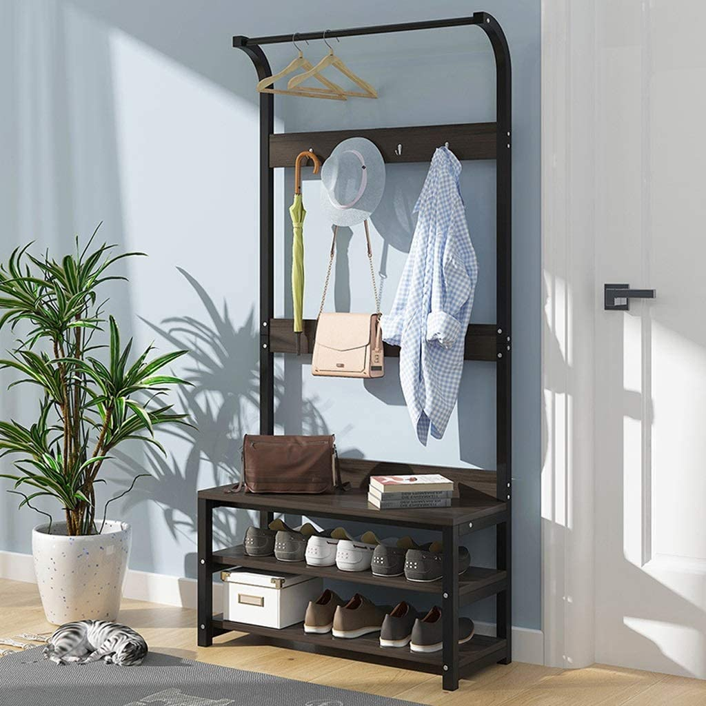 Amazon Com Freestanding Coat Rack Shoe Bench Clothes Rail Wooden Modern Multi Function Heavy Duty Jacket Clothes Storage Hanger With 4 Hooks For Entryway Bedroom Office White Black Walnut Color Wood Color Furniture Decor