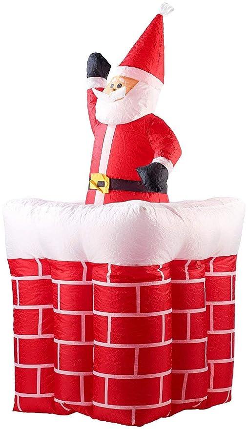 decoración de Navidad Hinchable XXL Papá Noel con Chimenea ...
