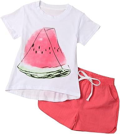 2017 Verano Niña Pequeña sandía impresión Camisetas de manga corta + Pantalones cortos (4 años, Rojo): Amazon.es: Ropa y accesorios